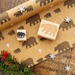 Mother And Baby Bear Rubber Stamp Set