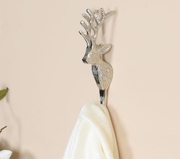 Nickel Stag Head Wall Hook
