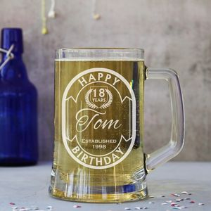 Personalised 'Happy Birthday' One Pint Stein Tankard - drink & barware
