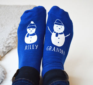 Personalised Snowman And Me Socks - festive socks