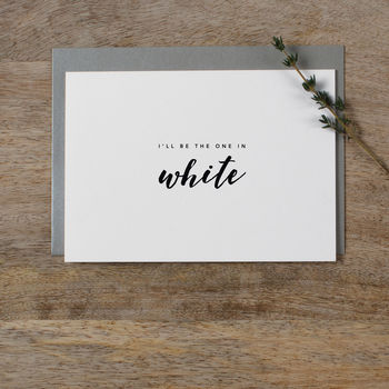 Wedding Card To Groom 'One In White'
