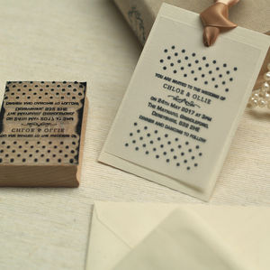 Personalised Wedding Invitations Polka Dots Stamp - ribbon & wrap