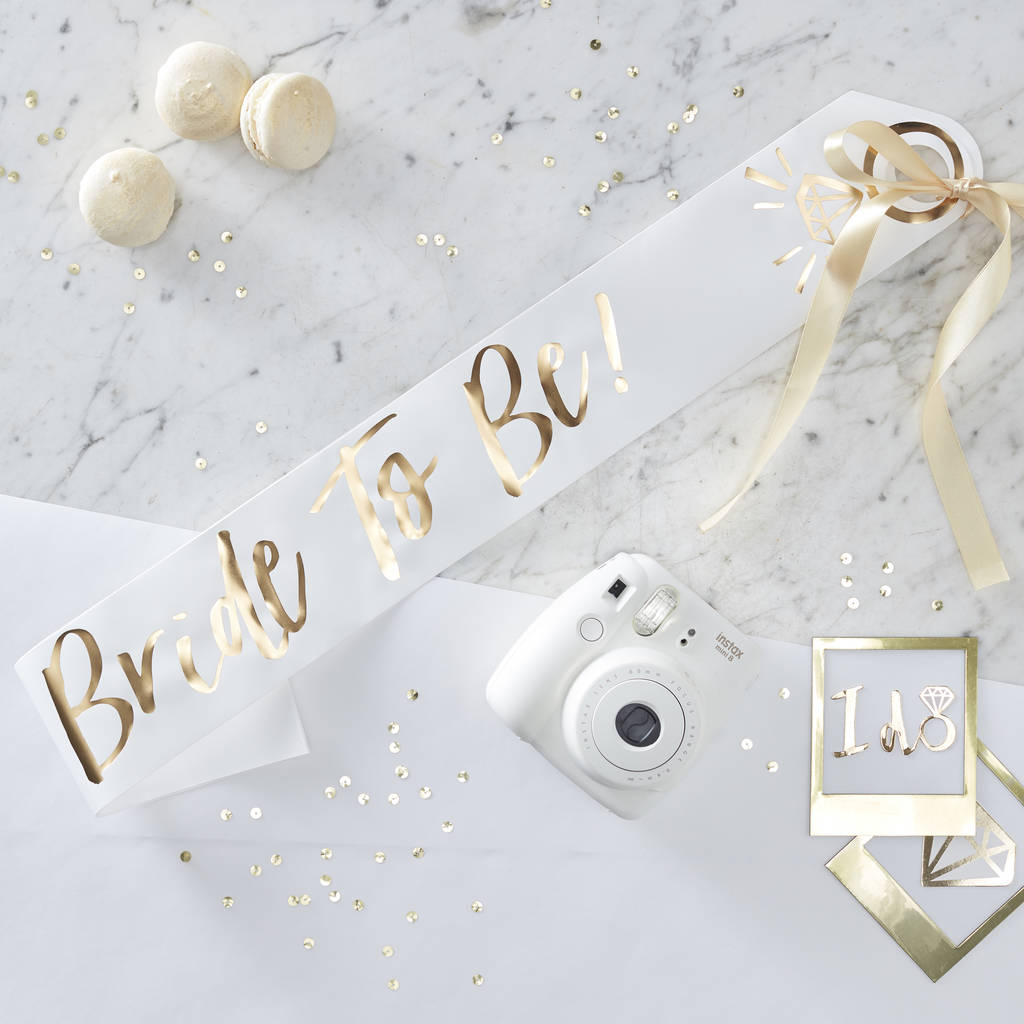 White And Gold Foiled Bride To Be Hen Party Sash
