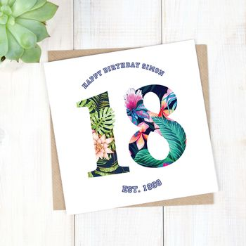 Personalised Hawaiian Boys 18th Birthday Card