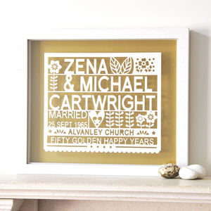 Personalised 50th Golden Wedding Anniversary Gift - 50th anniversary: gold