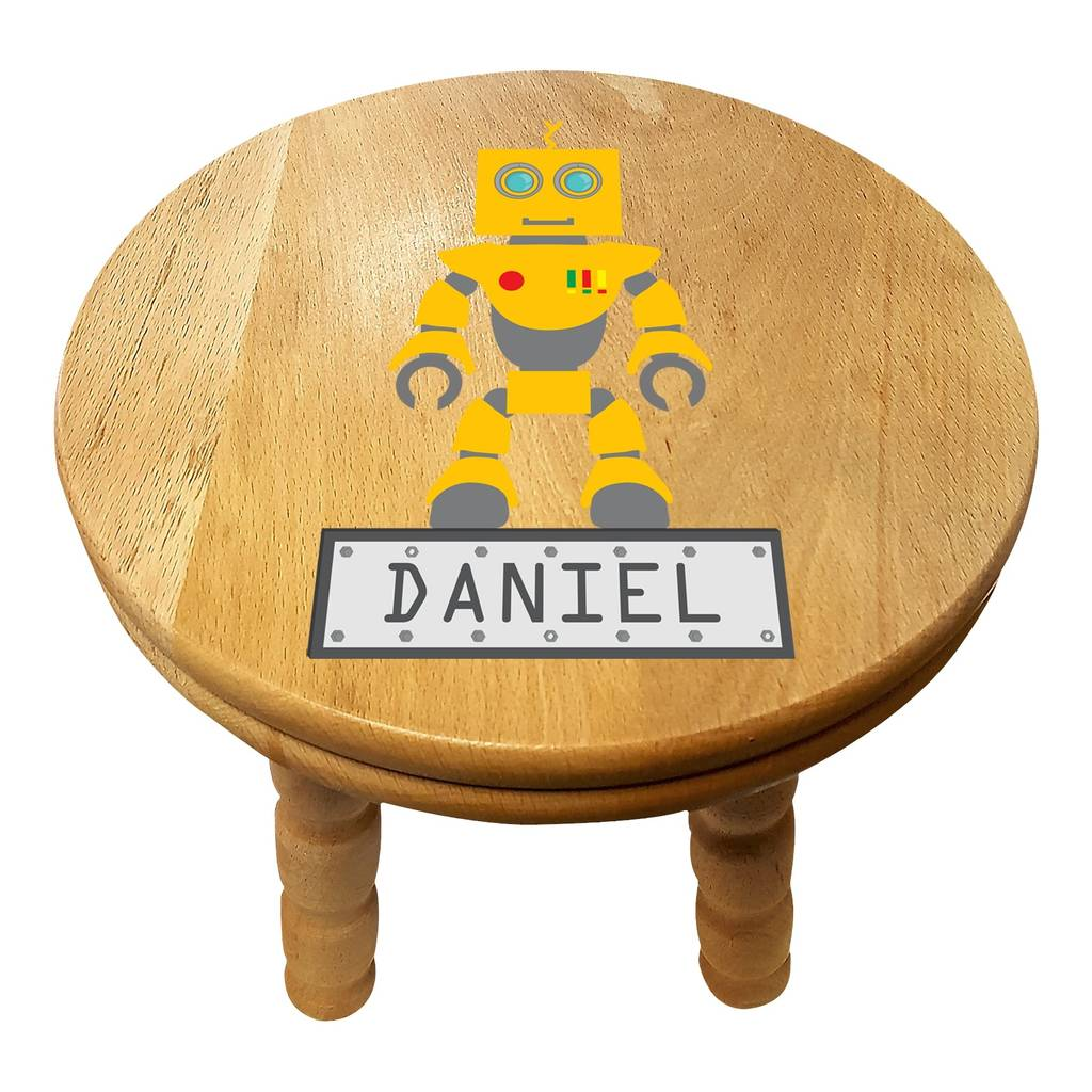 Personalised Robot Wooden Childrens Stool By British And