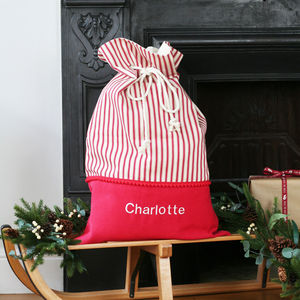 Luxury Personalised Stripes Christmas Santa Sack