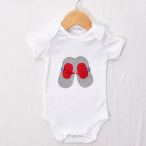 Grey And Red Shoes Babygrow - clothing