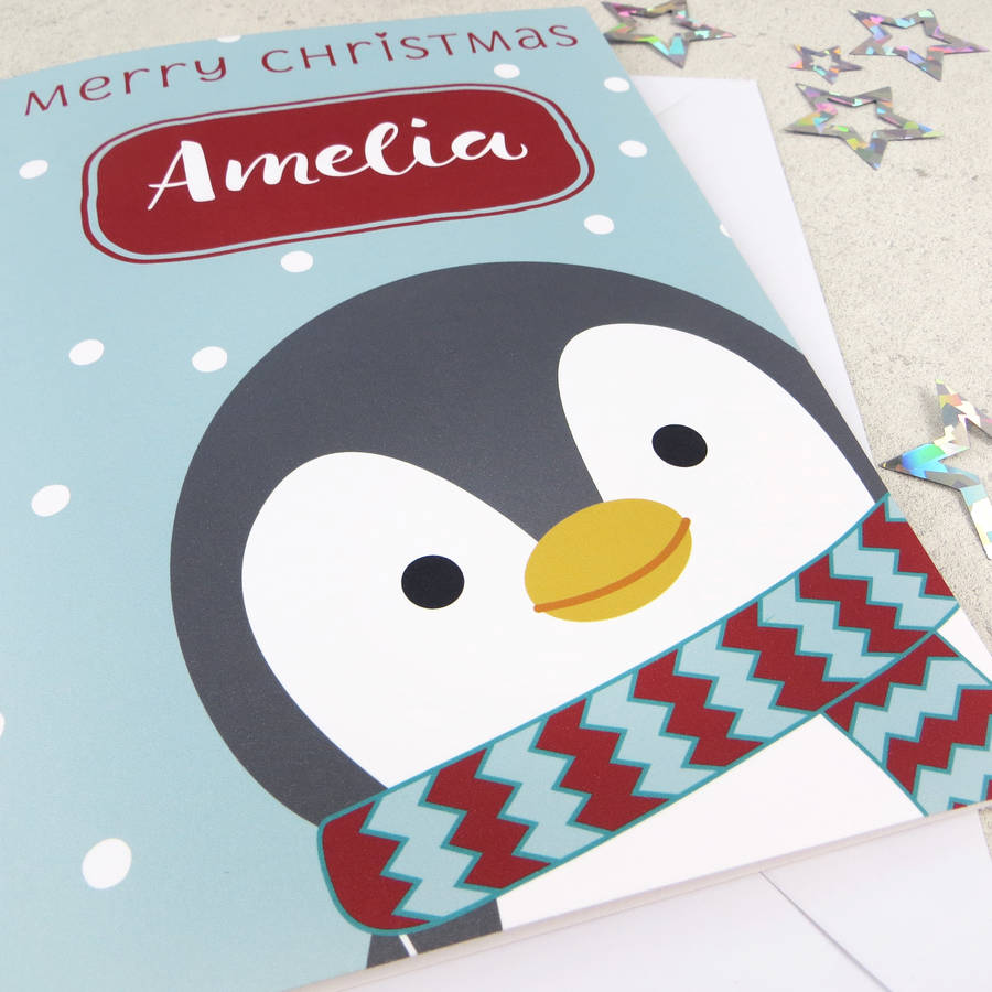 Cute Xmas Penguin Personalised Christmas Card By Wink