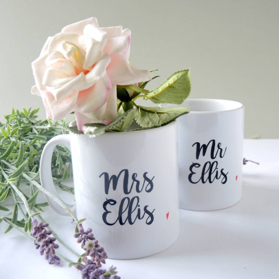personalised totally in love mr and mrs mugs by the alphabet gift ...