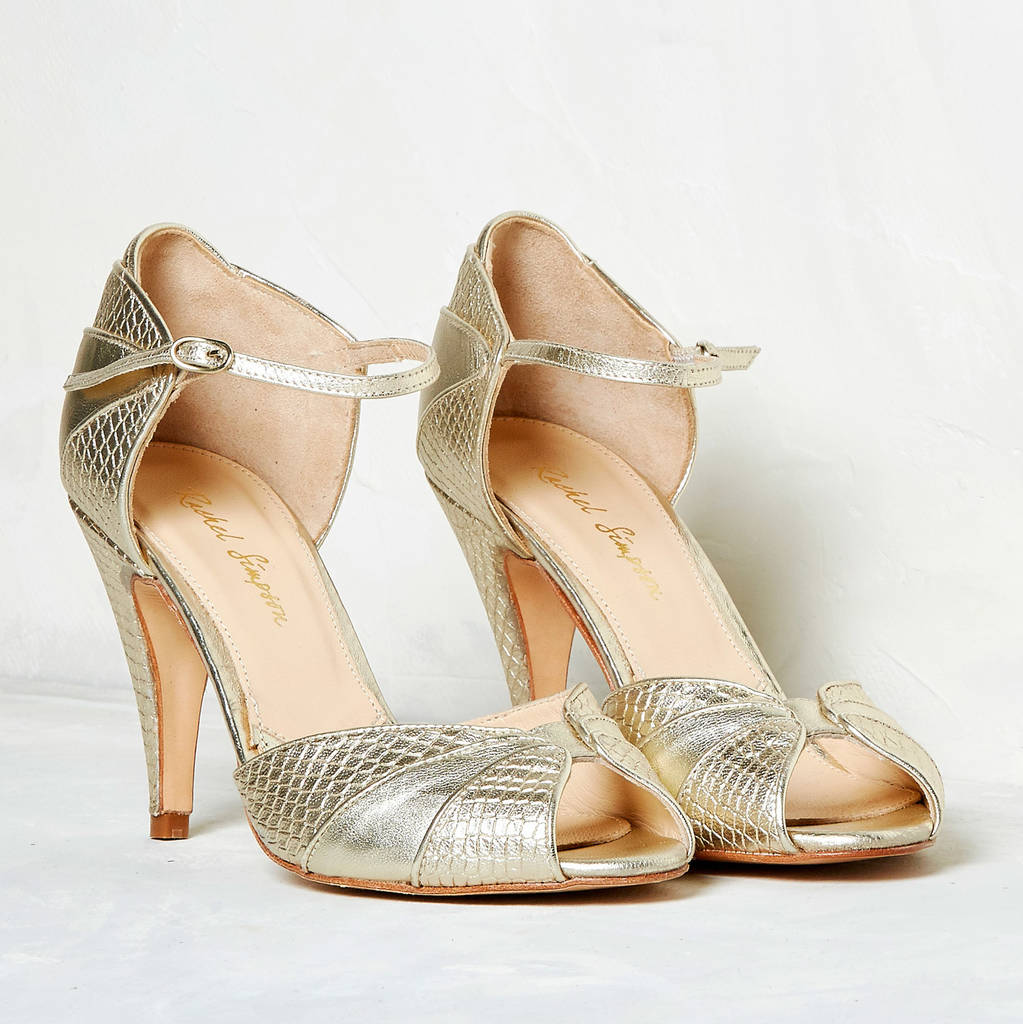 Custom Made Bridal Shoes Uk: Gigi Gold Leather Snake Print Shoes By Rachel Simpson
