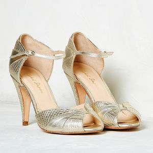 Gigi Gold Leather Snake Print Shoes - bridal shoes