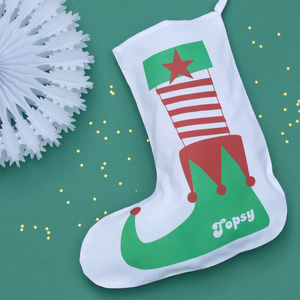 Personalised Elf Shoe Stocking - stockings & sacks