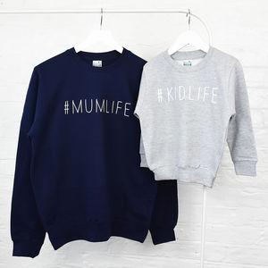 Mum And Me Hashtag Sweatshirt Jumper Set - jumpers & cardigans
