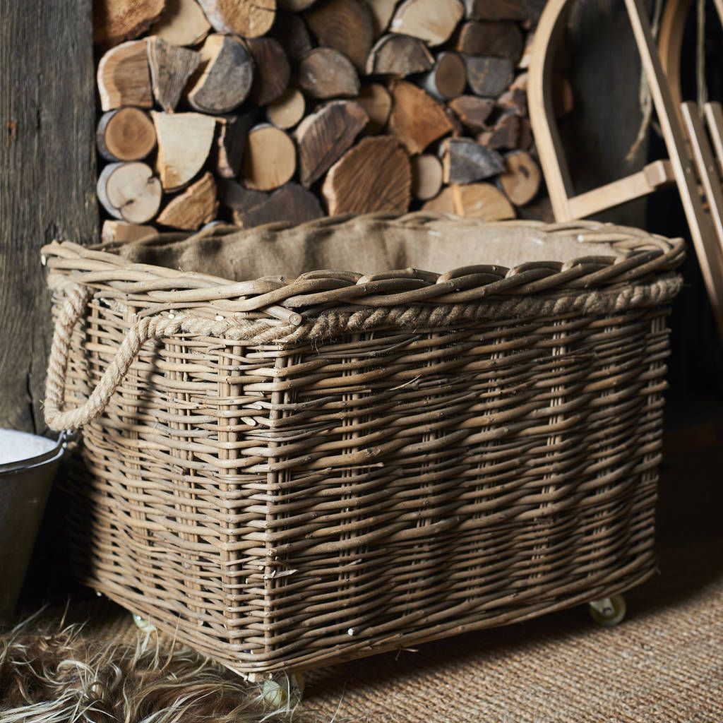 Wild Wicker Log Basket With Wheels And Rope Handles