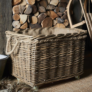 Wild Wicker Log Basket With Wheels And Rope Handles - baskets