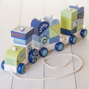 Personalised Blue Building Blocks Train