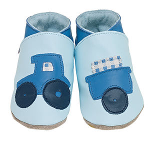 Boys Soft Leather Baby Shoes Tractor Baby Blue