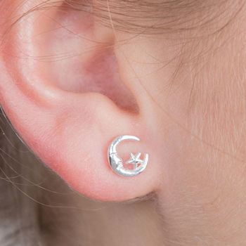 Moon And Star Small Stud Silver Earring