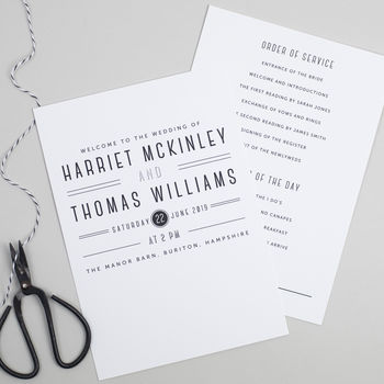 Graphic Type Wedding Order Of The Day Card