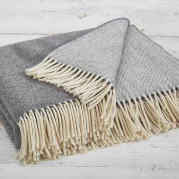 Reversible Grey Merino Throw