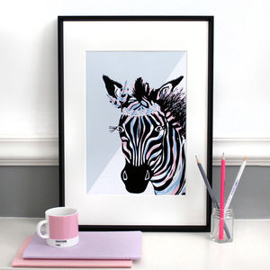 Lilac And Pink Zebra 'On Safari' Illustration