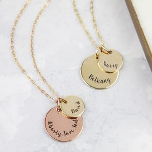 Personalised Solid Gold Double Disc Charm Necklace - necklaces & pendants