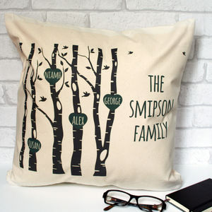 Personalised Family Trees With Hearts Cushion Cover - cushions