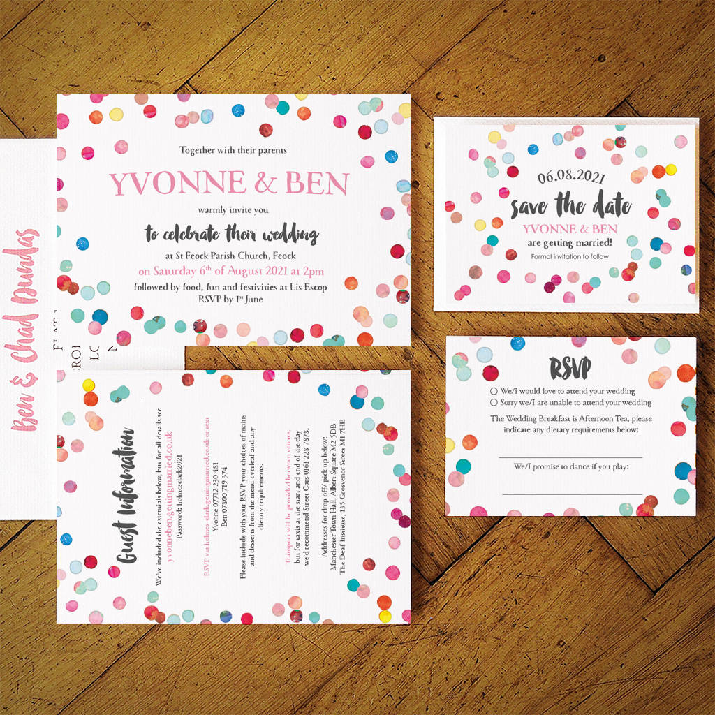 Save the date cards notonthehighstreet confetti swirl wedding invitation suite stopboris