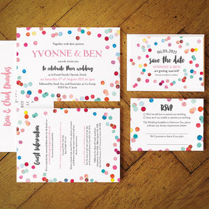 Confetti Swirl Wedding Invitation Suite - save the date cards