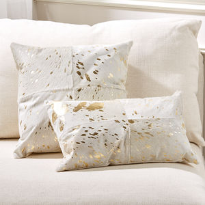 Gold And White Cowhide Cushion - cushions