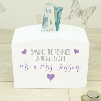Personalised White Wooden Mr And Mrs Money Box