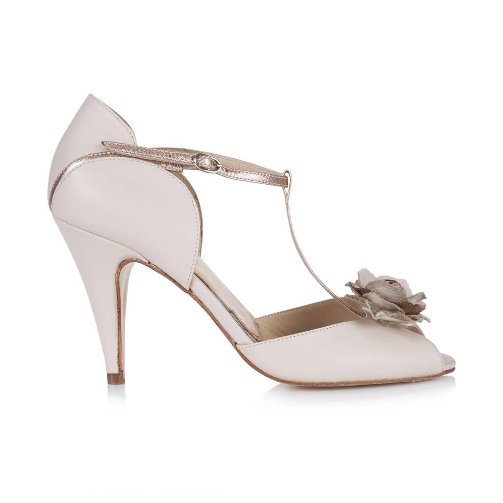 Custom Made Bridal Shoes Uk: Gabriella Blush Ivory Leather T Bar Sandal By Rachel