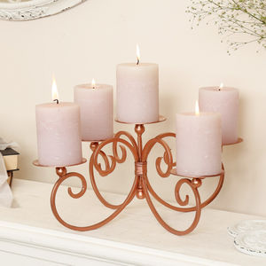 Copper Five Candle Pillar Centrepiece