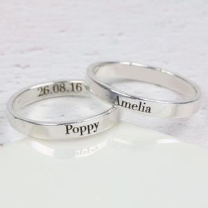 Personalised Engraved Sterling Silver Name Ring - personalised jewellery