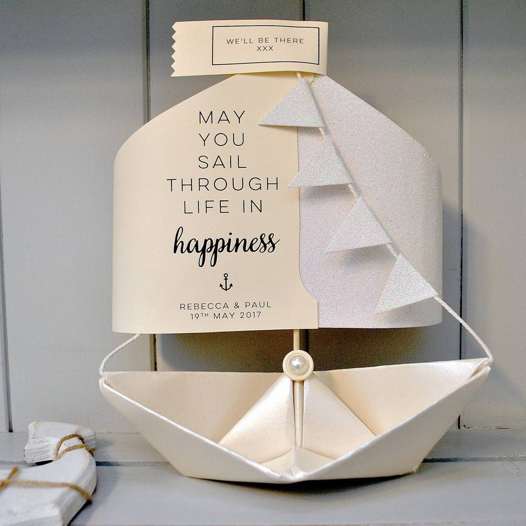 personalised engagement paper boat card keepsake by the little ...