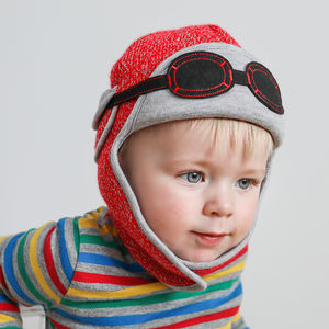 Baby's Winter Pilot Hat With Goggles Red