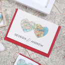 Personalised Map Hearts Personalised Valentines Card