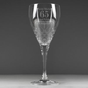 Engraved Cut Crystal Age Wine Glass - drink & barware