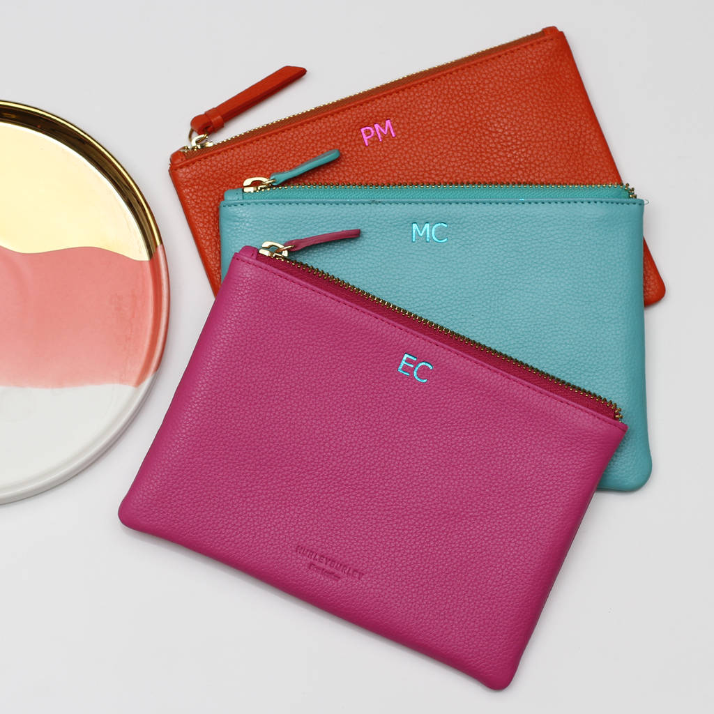 69281d6244a4 personalised initials luxury leather clutch bag by hurleyburley ...