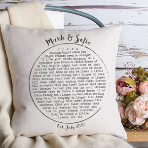 Personalised Lyrics Cushion - 2nd anniversary: cotton
