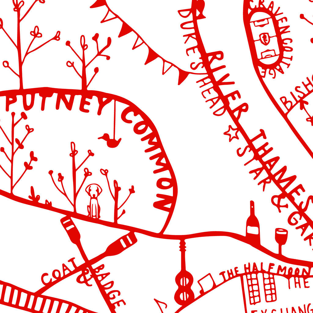 putney illustrated map print by places & spaces art co ...