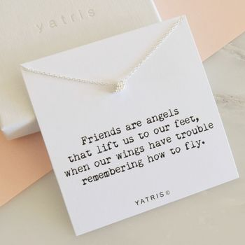 Silver Angel Wing Necklace Friend Gift