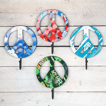 Recycled Tin Peace Wall Hook, Various Designs