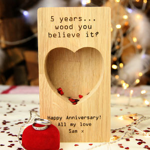 Personalised Oak 5th Anniversary Jewellery Ring Tray - jewellery storage & trinket boxes