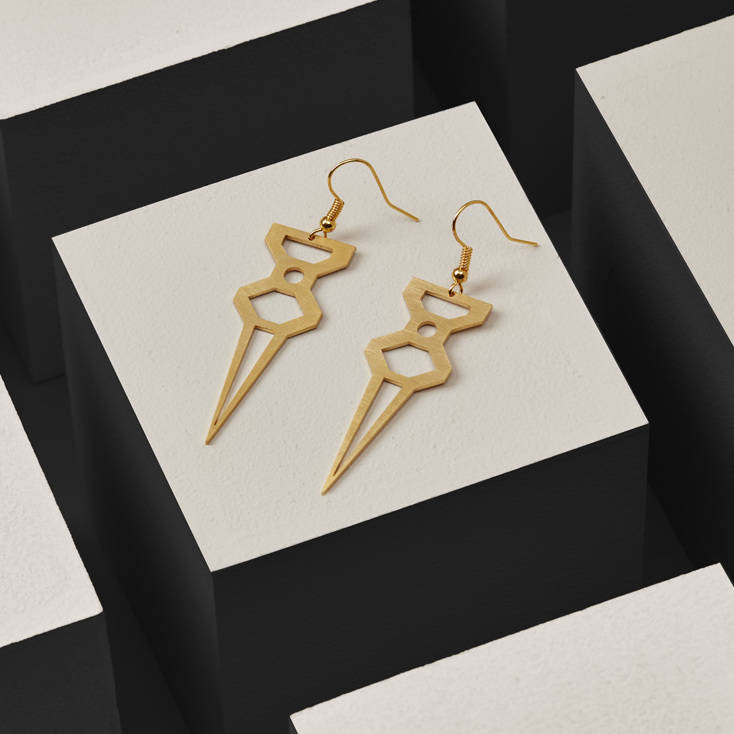 Hexagon Dagger Earrings