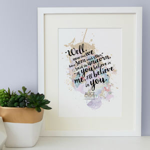 Alice In Wonderland Unicorn 'Believe' Watercolour Print