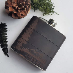Personalised Mountain Man Leather Hip Flask - micro adventures