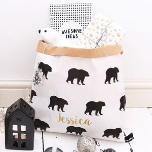 Personalised Small Christmas Bear Sack - stockings & sacks