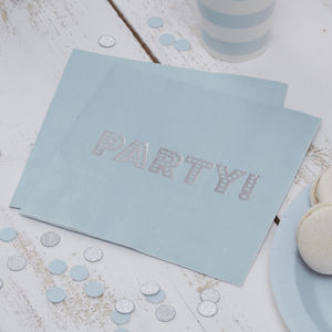 Pastel Blue And Silver Foiled Party Paper Napkins - summer sale